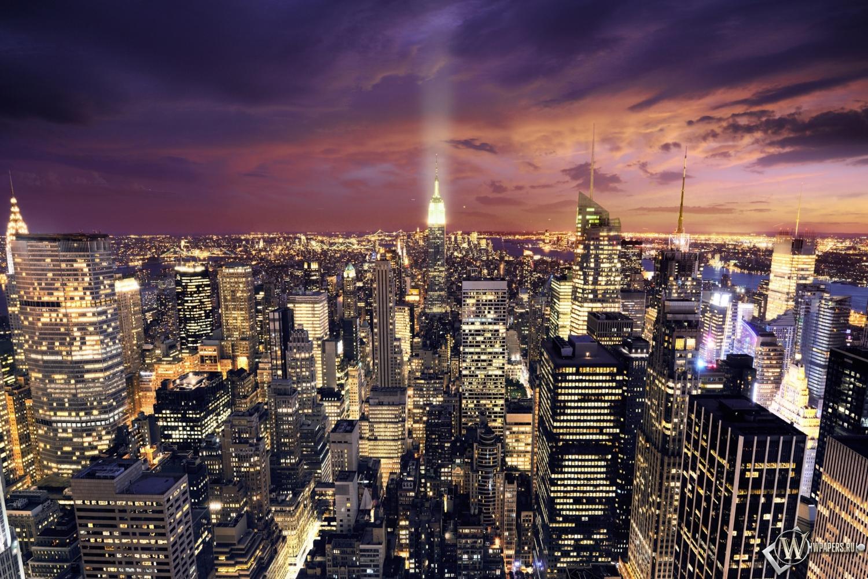 Ночной Нью-Йорк 1500x1000