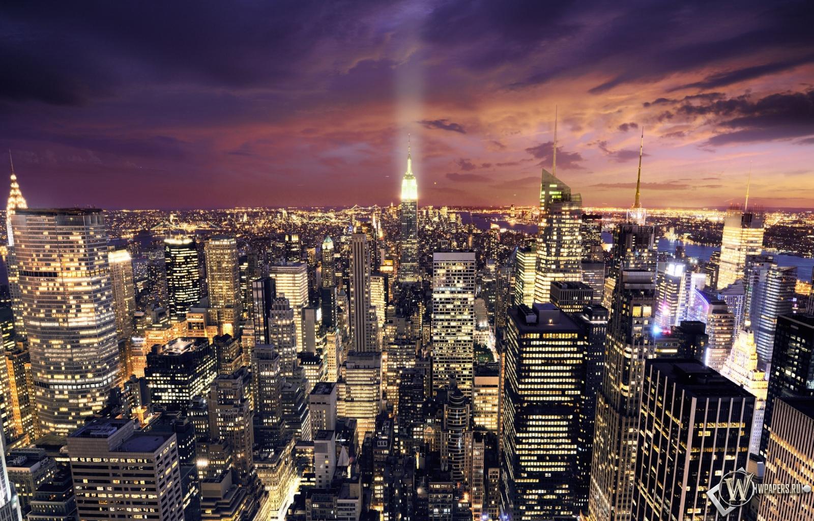 Ночной Нью-Йорк 1600x1024