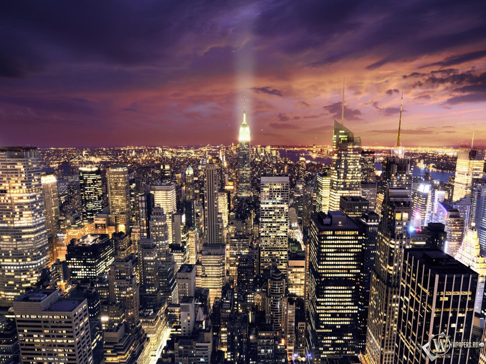 Ночной Нью-Йорк 1600x1200