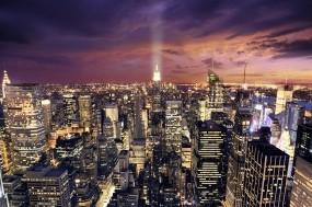 Обои Ночной Нью-Йорк: Облака, Огни, Свет, Ночь, Небоскрёбы, Небо, Дома, Дороги, Города