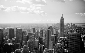 Обои New-York black and white: Город, Здания, Нью-Йорк, New York