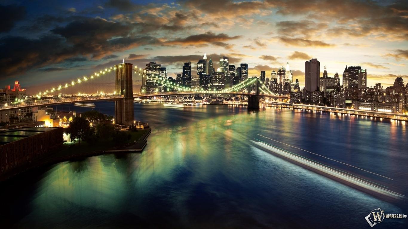 Manhattan bridge 1366x768