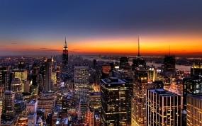 New York закат над городом
