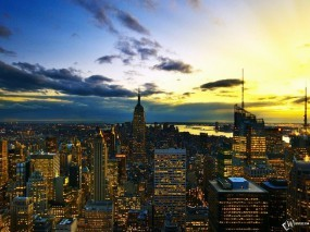 Обои New York Skyline At Sunset: , New York