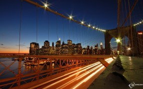 Обои New York Brooklyn Bridge Skyline: , New York