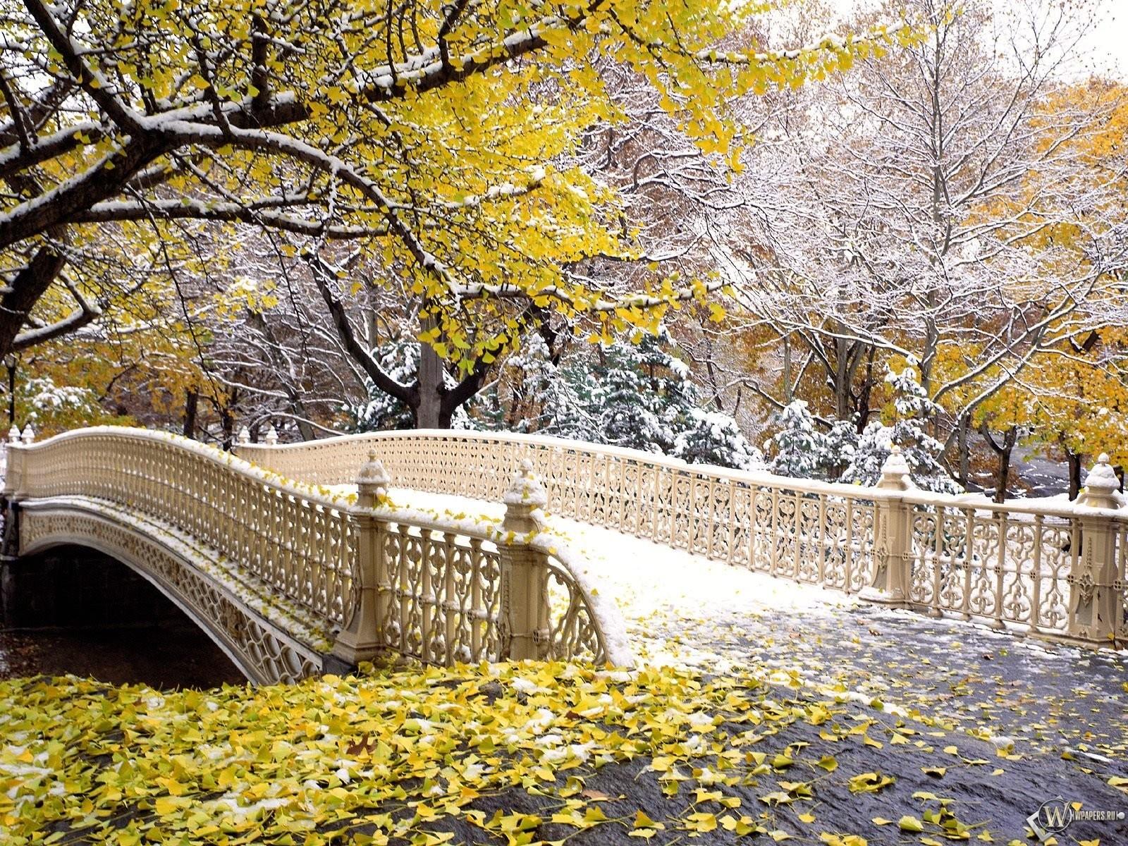 New York - первый снег в центральном парке 1600x1200