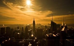 Обои Восход над Нью-йорком: Солнце, Небоскрёбы, Нью-Йорк, Сепия, New York