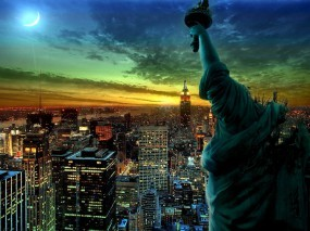 Обои Ночной Нью-йорк: Огни, Ночь, Нью-Йорк, Статуя, New York