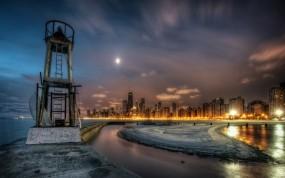 Обои Чикаго: Ночной город, Вода, Дома, Чикаго, Города и вода