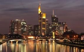 Обои Frankfurt Skyline: Огни, Река, Ночь, Дома, Germany, Frankfurt, Прочие города