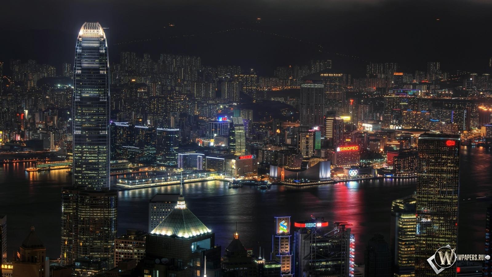 Ночной Гонконг 1600x900