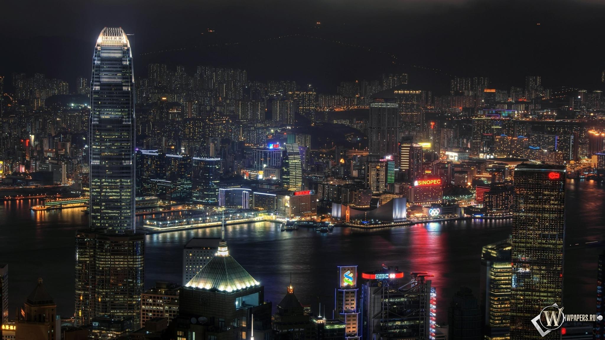 Ночной Гонконг 2048x1152