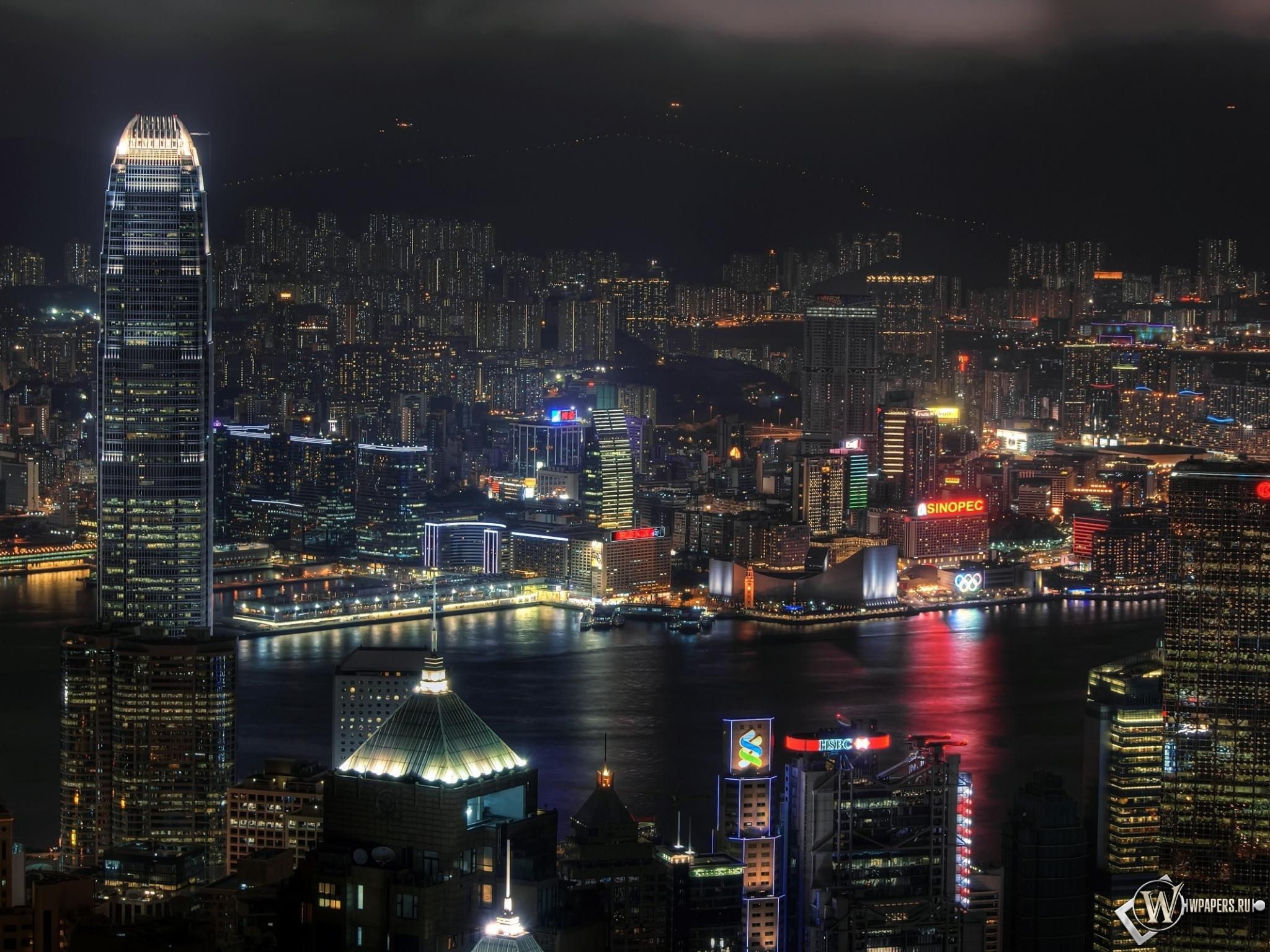 Ночной Гонконг 2048x1536