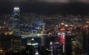 Обои Ночной Гонконг: Огни, Город, Ночь, Дома, Гонконг, Прочие города