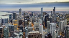 Обои Чикаго зимой: Зима, Город, Небоскрёбы, Чикаго, Прочие города
