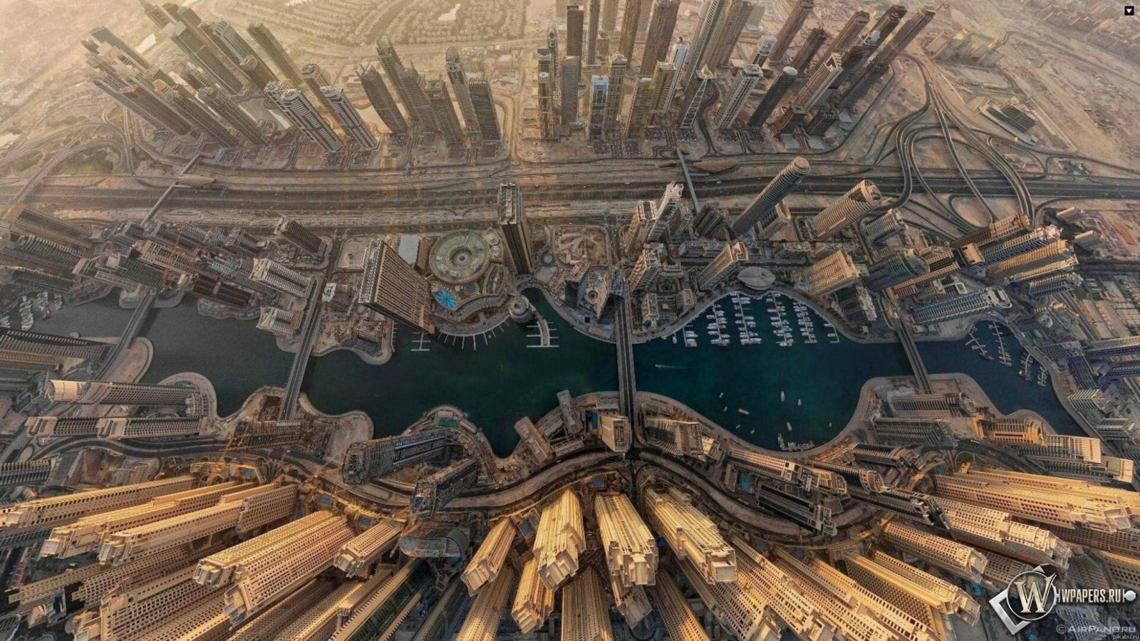 Dubai  вид сверху 1600x900