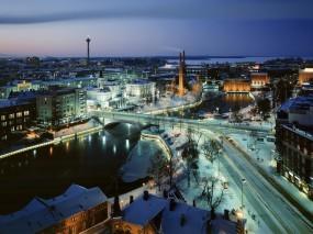 Обои Финляндия - Тампере: Река, Зима, Дорога, Мост, Финляндия, Прочие города