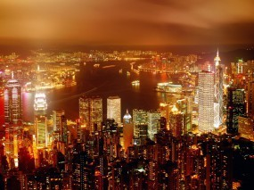 Обои Ночьной город сверху: Огни, Город, Ночь, Дома, Прочие города