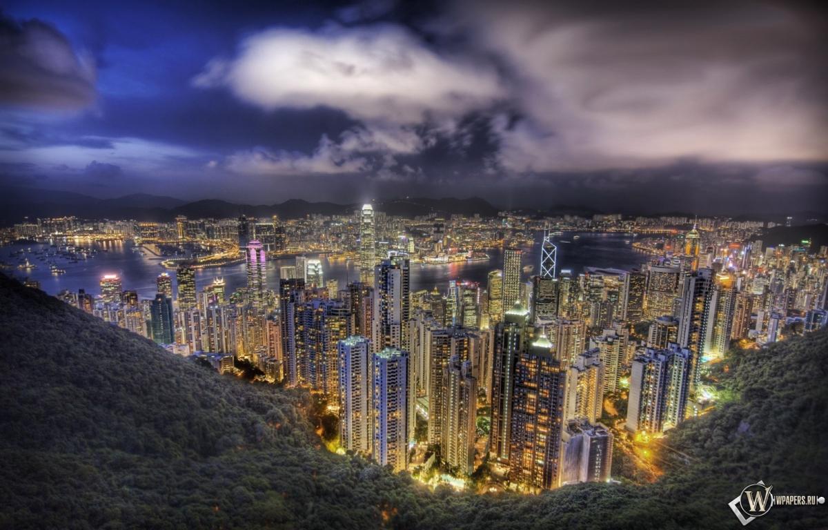 Небоскребы в Гонконге 1200x768