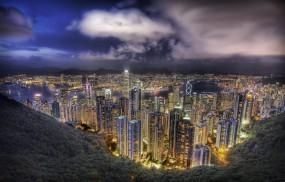 Обои Небоскребы в Гонконге: Огни, Небоскрёбы, Гонконг, Долина, Прочие города