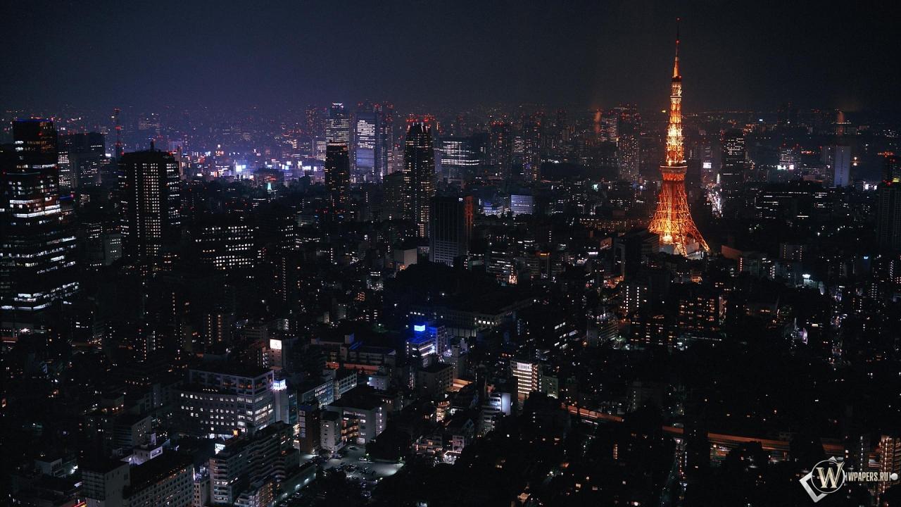 Токио ночью 1280x720