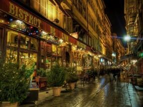 Обои Lyon - France: Ночь, Улица, Люди, Lyon, France, Прочие города