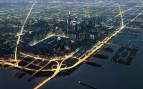 Обои вид города с верху: Огни, Город, Дома, Машины, Прочие города
