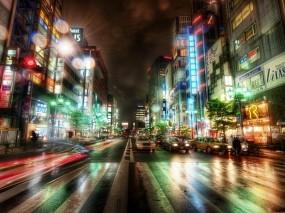 Обои Токио: Город, Ночь, Токио, Движение, Прочие города