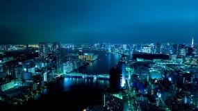 Обои Япония ночью: Фонари, Вода, Япония, Токио, Прочие города