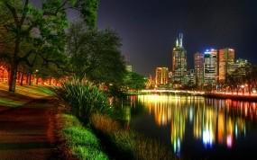 Обои Ночьной город: Ночной город, Река, Город, Ночь, Прочие города