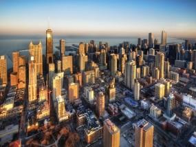 Обои Чикаго: Небоскрёбы, Здания, Чикаго, Города и вода