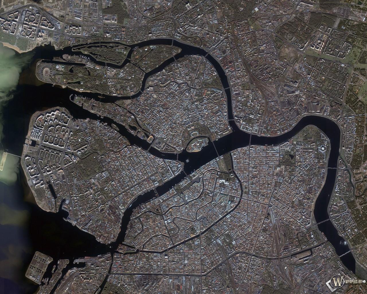 Питер Город со спутника 1280x1024