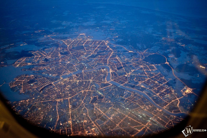 Питер из самолета ночью 1500x1000