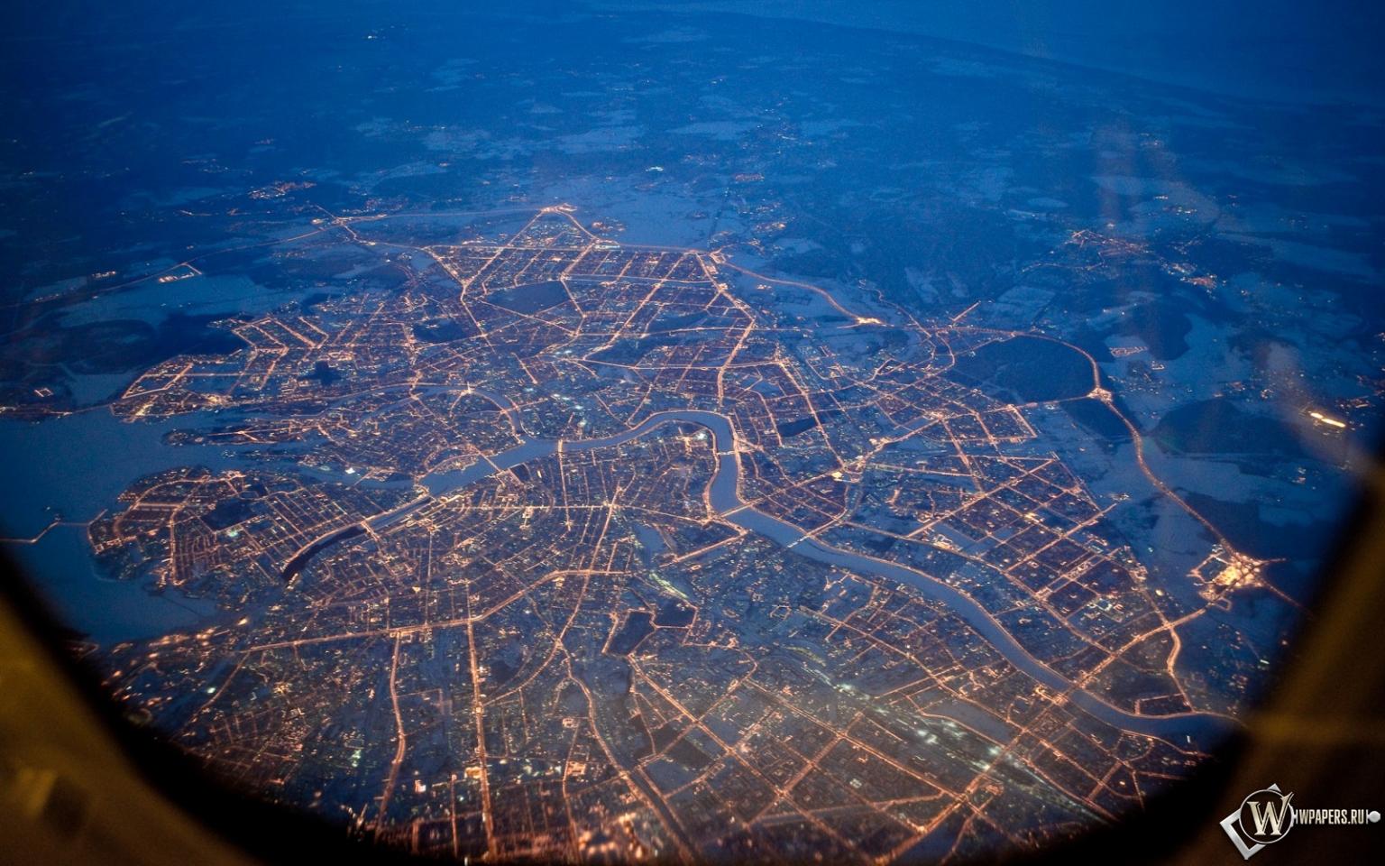 Питер из самолета ночью 1536x960