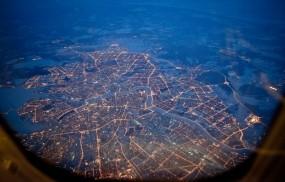 Обои Питер из самолета ночью: Огни, Ночь, Высота, Санкт-Петербург, Питер, Санкт-Петербург