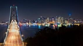 Обои San Francisco: Город, Мост, Ночь, Сан-Франциско, Города и вода