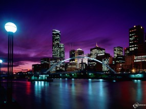 Обои Sunset Over Melbourne Australia: Ночной город, Австралия, Мильбурн, Города и вода