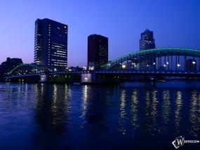 Обои Ночной город: Ночной город, Река, Мост, Города и вода
