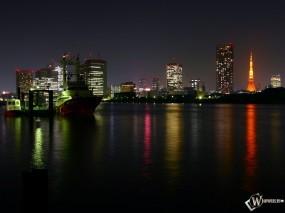 Обои Фото ночного города: Ночной город, Города и вода