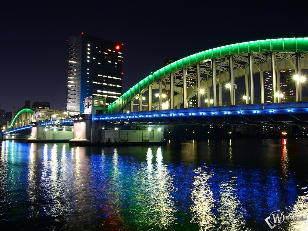 Ночной мост 1024x768