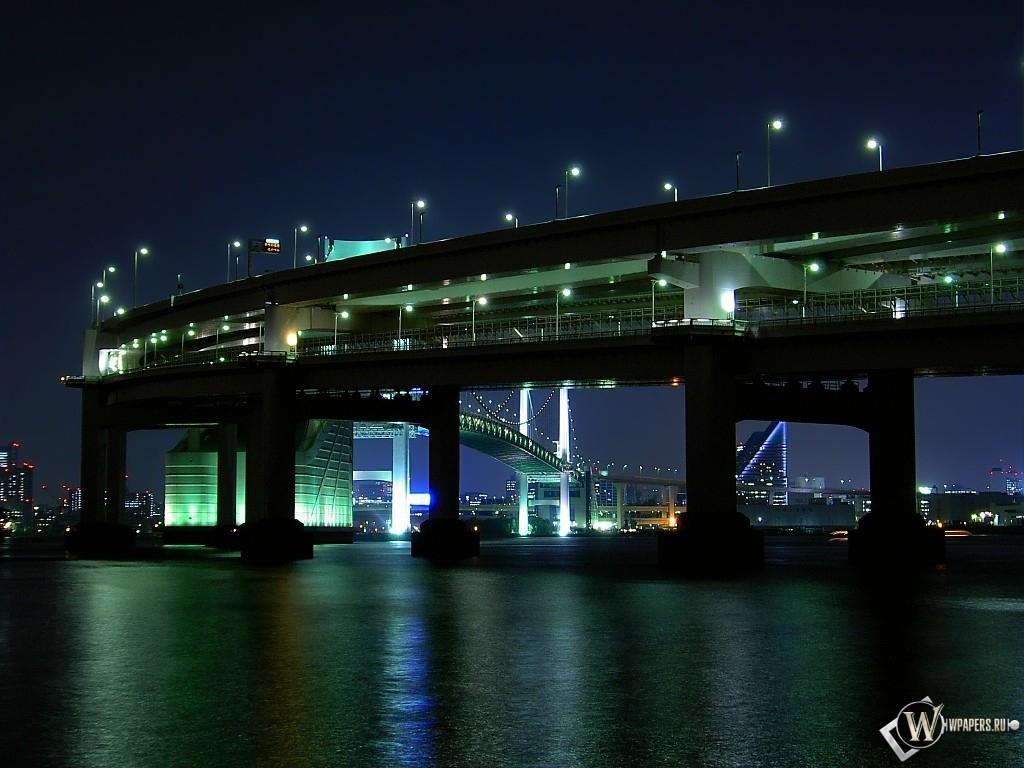 Мост ночью 1024x768