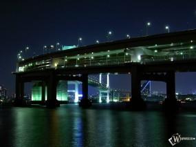 Обои Мост ночью: Мост, Ночь, Города и вода