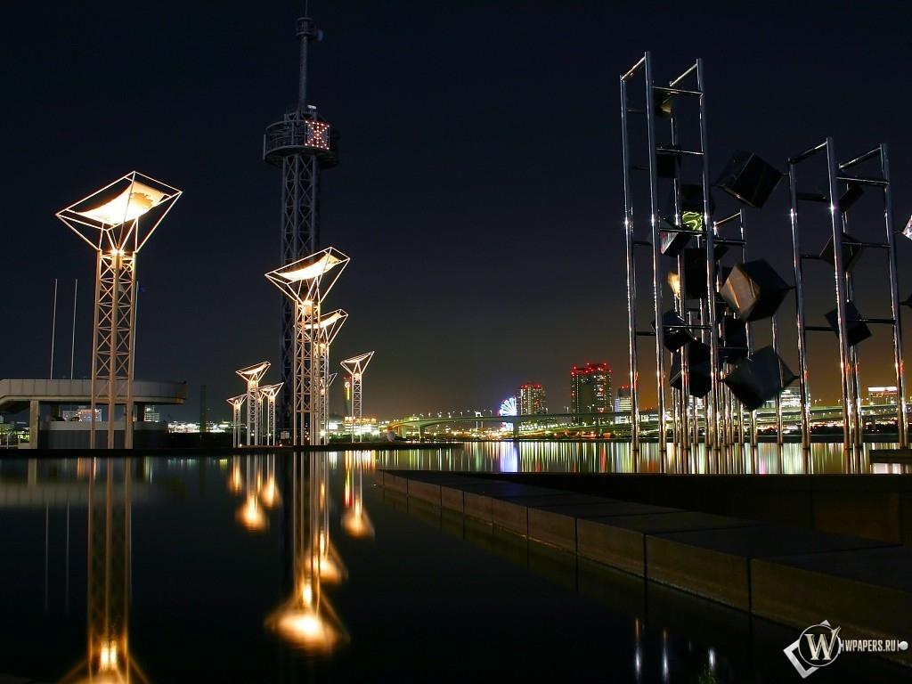 вода и город ночью 1024x768