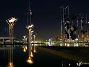 Обои вода и город ночью: Вода, Город, Ночь, Города и вода