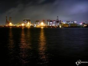 Обои Город ночью: Река, Город, Ночь, Города и вода