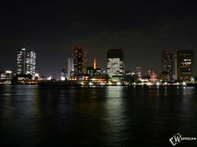 Обои Огни ночного города: Огни, Город, Ночь, Города и вода