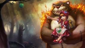 Обои Annie League of Legends: Яблоко, Медведь, Девочка, Фэнтези