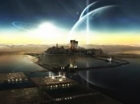 Обои город будующего: Вода, Город, Будущее, Фэнтези