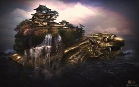 Обои Драко-черепаха: Япония, Черепаха, Дворец, Фэнтези