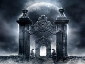 Обои Врата в Неизвестность: Луна, Тропа, Готика, Врата, Гаргульи, Фэнтези